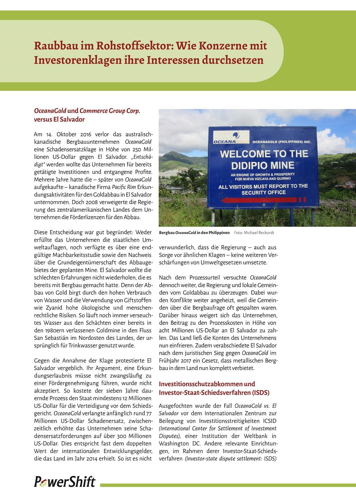 Cover Raubbau im Rohstoffsektor Wie Konzerne mit Investorenklagen ihre Interessen durchsetzen